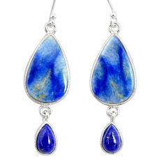 925 silver 14.02cts natural blue quartz palm stone dangle earrings r86995