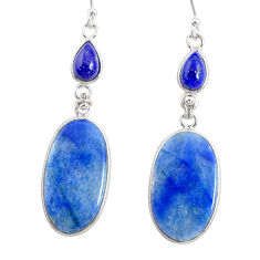 925 silver 20.10cts natural blue quartz palm stone dangle earrings r86999