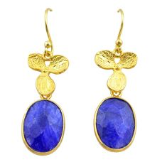 925 silver 10.62cts natural blue sapphire 14k gold birds charm earrings t44054