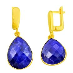 925 silver 22.30cts natural blue sapphire 14k gold dangle earrings r32540
