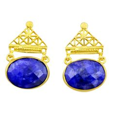 925 silver 21.01cts natural blue sapphire 14k gold dangle earrings r32751