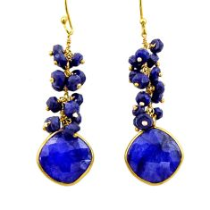 925 silver 29.63cts natural blue sapphire 14k gold dangle earrings r32778