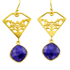 925 silver 15.16cts natural blue sapphire 14k gold dangle earrings r32851