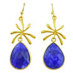 15.52cts natural blue sapphire 14k gold handmade dangle earrings t11408