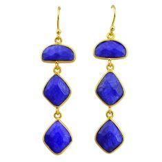 19.03cts natural blue sapphire 14k gold handmade dangle earrings t11552