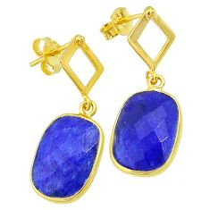 11.20cts natural blue sapphire 14k gold handmade dangle earrings jewelry t11600