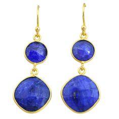 16.13cts natural blue sapphire 14k gold handmade dangle earrings t11607
