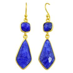 13.63cts natural blue sapphire 14k gold handmade dangle earrings t11659