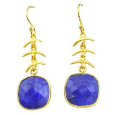 12.58cts natural blue sapphire 14k gold handmade dangle earrings t11668
