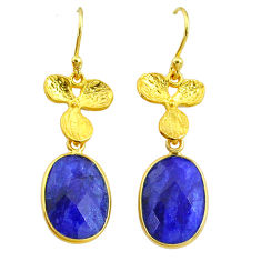 12.22cts natural blue sapphire 14k gold handmade dangle earrings t11684