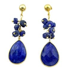 925 silver 18.73cts natural blue sapphire 14k gold dangle earrings t44072