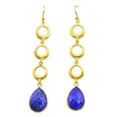 925 silver 11.95cts natural blue sapphire 14k gold dangle earrings t44140