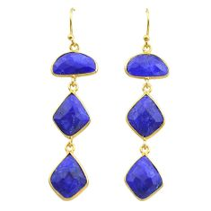 925 silver 16.49cts natural blue sapphire 14k gold dangle earrings t44150