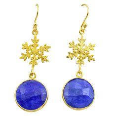 925 silver 11.73cts natural blue sapphire 14k gold dangle earrings t44173