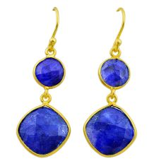 925 silver 11.93cts natural blue sapphire 14k gold dangle earrings t44188