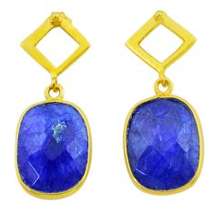 925 silver 11.20cts natural blue sapphire 14k gold dangle earrings t44199