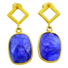 925 silver 11.73cts natural blue sapphire 14k gold dangle earrings t44207
