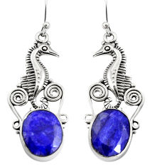 925 silver 10.16cts natural blue sapphire dangle seahorse earrings r24920