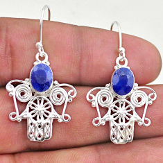 925 silver 4.02cts natural blue sapphire hand of god hamsa earrings t47000