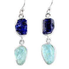 925 silver 18.15cts natural blue sapphire rough aquamarine rough earrings r55444