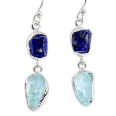 925 silver 14.90cts natural blue sapphire rough aquamarine rough earrings r55448