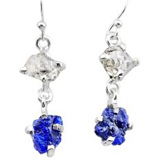 925 silver 8.01cts natural blue sapphire rough herkimer diamond earrings t25629