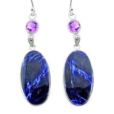 925 silver 18.51cts natural blue sodalite purple amethyst dangle earrings r75604