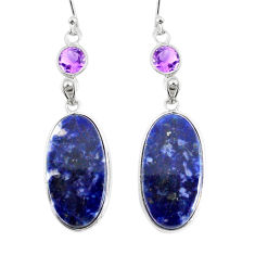 925 silver 16.71cts natural blue sodalite purple amethyst dangle earrings r75644