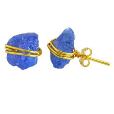 10.50cts rough natural blue tanzanite raw 14k gold handmade stud earrings r79756