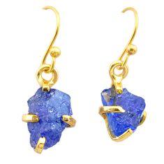 Handmade 5.70cts natural blue tanzanite raw 14k gold dangle earrings t29824