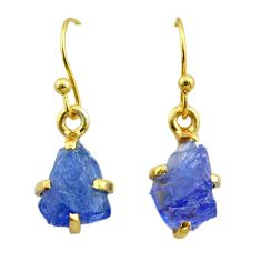 925 silver 5.24cts natural blue tanzanite raw 14k gold earrings jewelry t51196