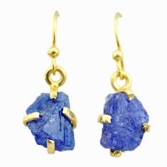 925 silver 6.27cts natural blue tanzanite raw 14k gold earrings t51184