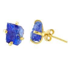 Handmade 5.77cts natural blue tanzanite raw 14k gold stud earrings t29844
