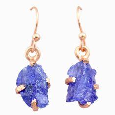 Handmade 6.23cts natural blue tanzanite raw 14k rose gold earrings t29839
