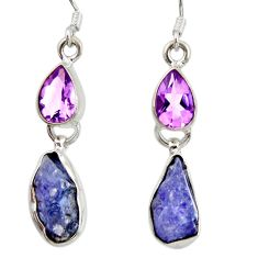925 silver 11.66cts natural blue tanzanite rough amethyst dangle earrings d40349
