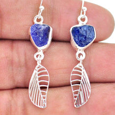 925 silver 9.39cts natural blue tanzanite raw deltoid leaf earrings t17195