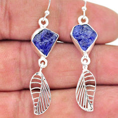 925 silver 10.19cts natural blue tanzanite raw deltoid leaf earrings t17196