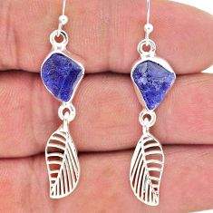 925 silver 9.86cts natural blue tanzanite raw deltoid leaf earrings t17200