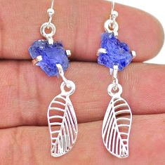 925 silver 7.96cts natural blue tanzanite raw deltoid leaf earrings t17260