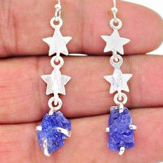 925 silver 7.99cts natural blue tanzanite raw star charm earrings t17256