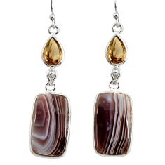 925 silver 17.53cts natural brown botswana agate dangle earrings r28984