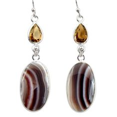 925 silver 19.29cts natural brown botswana agate dangle earrings r28990