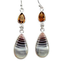 925 silver 15.34cts natural brown botswana agate dangle earrings r28997