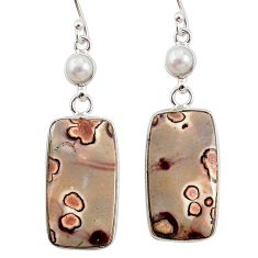 925 silver 19.09cts natural brown coffee bean jasper dangle earrings r75795