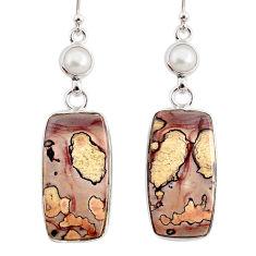 925 silver 19.18cts natural brown coffee bean jasper pearl earrings r75746
