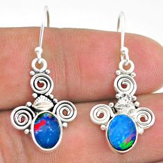 925 silver 3.60cts natural brown doublet opal australian dangle earrings t32766