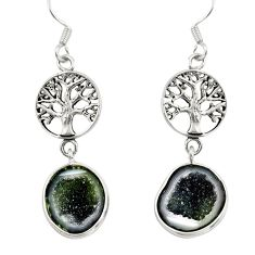 Clearance Sale- 925 silver 11.17cts natural brown geode druzy tree of life earrings d40443