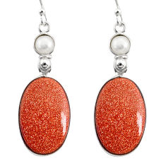 925 silver 18.39cts natural brown goldstone white pearl dangle earrings r75533