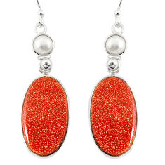 925 silver 17.17cts natural brown goldstone white pearl dangle earrings r75538