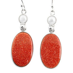 925 silver 17.90cts natural brown goldstone white pearl dangle earrings r75557